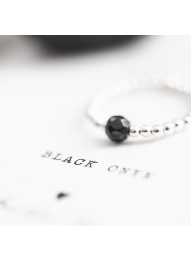 Ring Sparkle Black Onyx Silver M/L