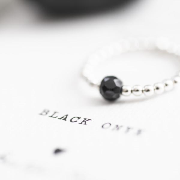 Ring Sparkle Black Onyx Silver M/L-5