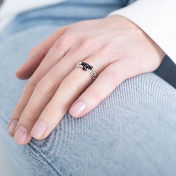 Ring Beauty Onyx Silver Black S/M-4