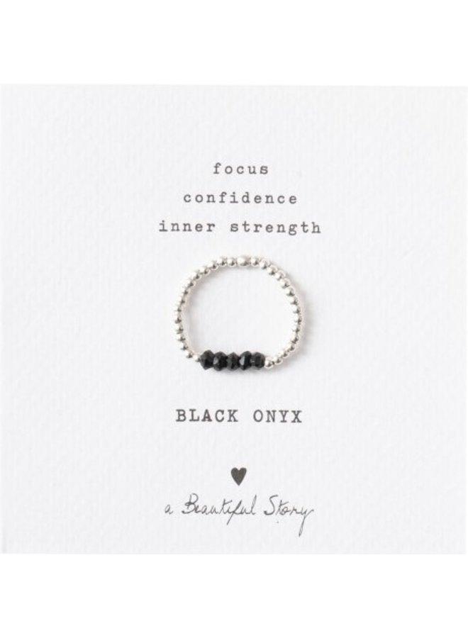 Ring Beauty Onyx Silver Black S/M