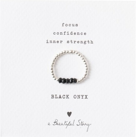 Ring Beauty Onyx Silver Black S/M-1