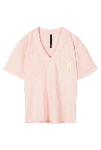 T-shirt low v-neck tee linen dirty pink