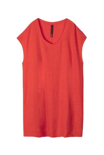 Jurk tunic linen fluor red