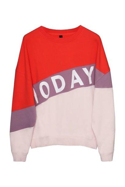 Trui oversized sweater logo dirty pink