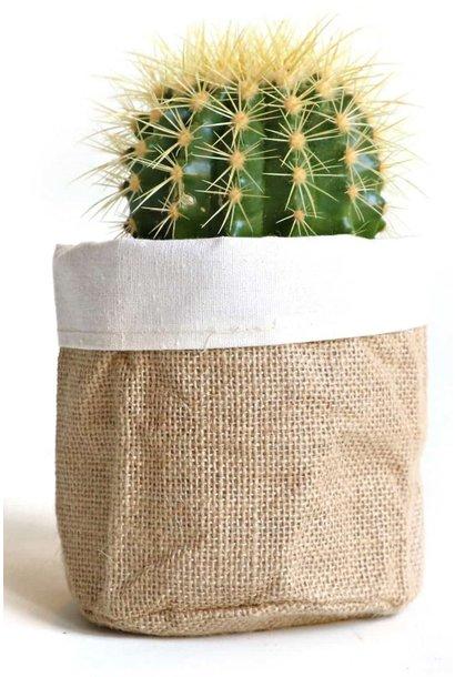 Bloempot jute bag white 15x15cm