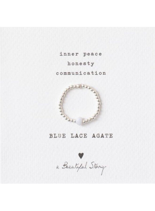 Ring Sparkle Blue Lace Agate Silver M/L