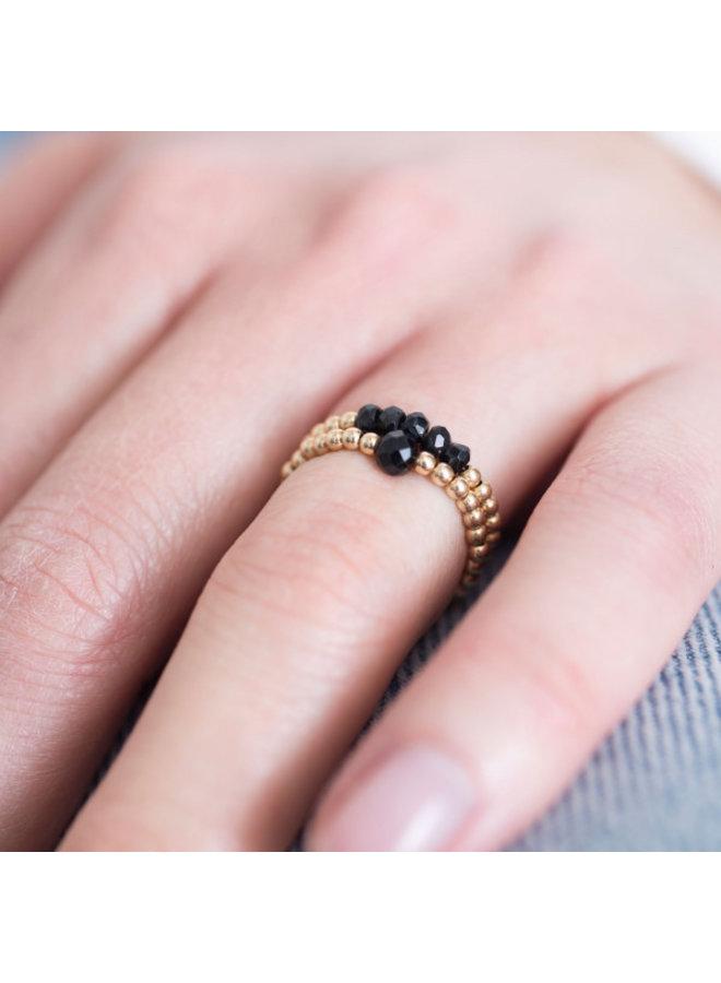 Ring Beauty onyx Gold M/L Black