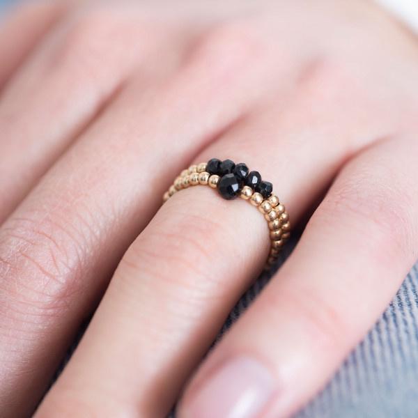 Ring Beauty onyx Gold M/L Black-2