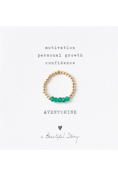 Ring Beauty Aventurine Gold Green
