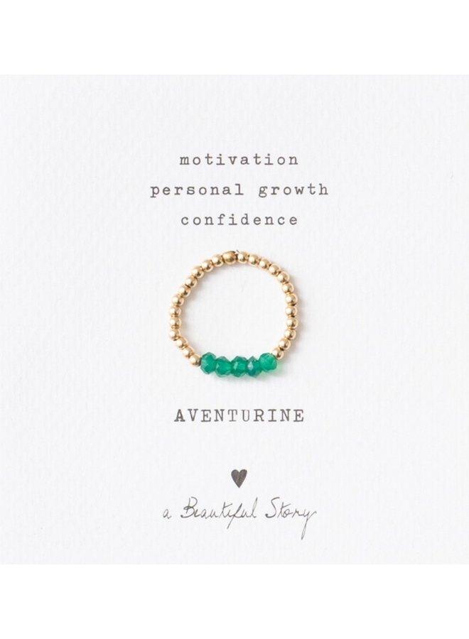 Ring Beauty Aventurine Gold Green