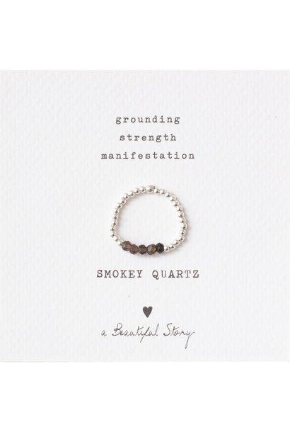 Ring Beauty Smokey Quartz Silver Brown