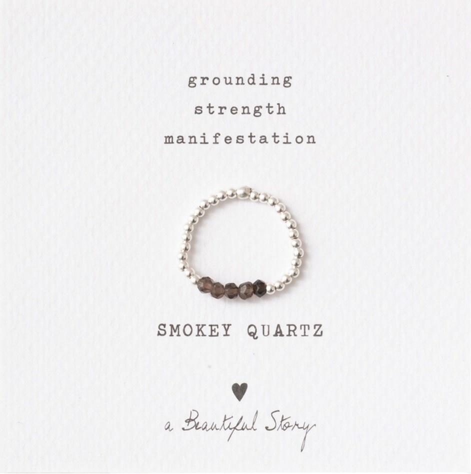 Ring Beauty Smokey Quartz Silver Brown-1