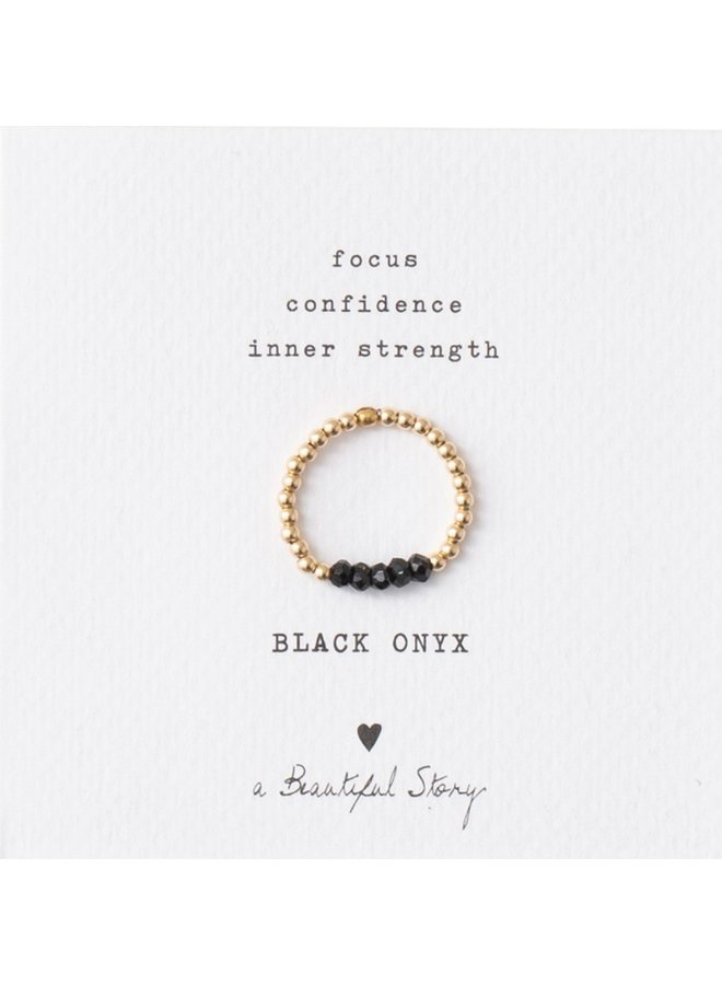 Ring Beauty onyx S/M Gold Black