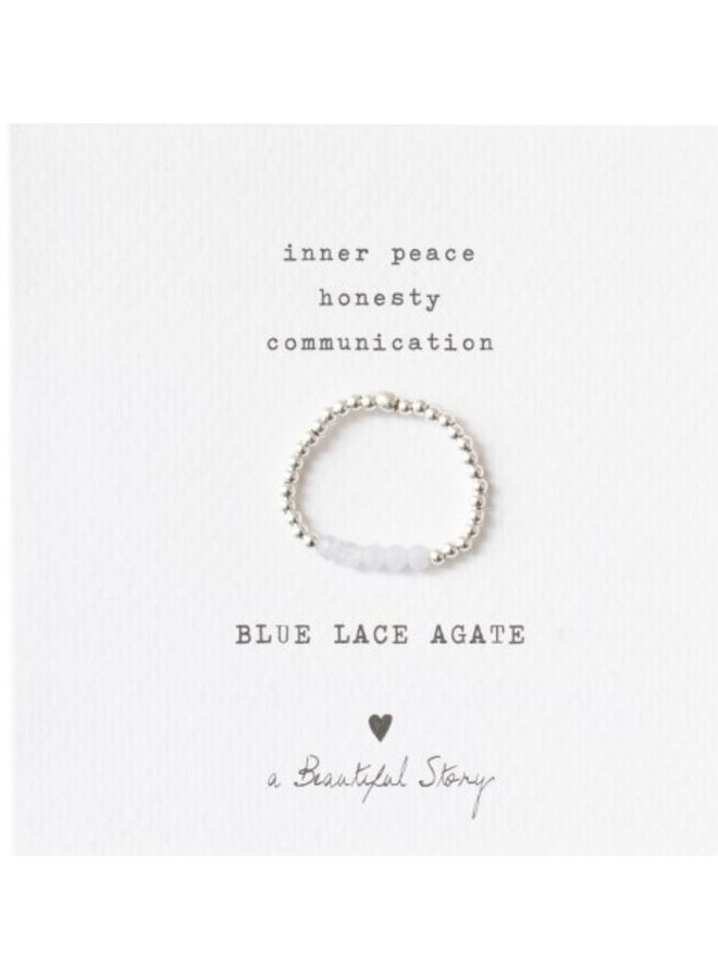 Ring Beauty Lace Agate Silver light Blue