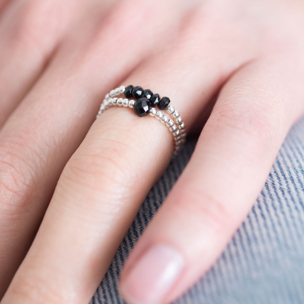 Ring Sparkle Black Onyx Silver M/L-2