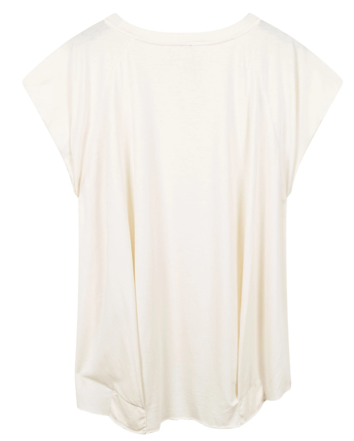 Top korte mouw the tee raw edge white-3