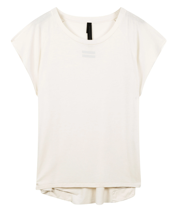 Top korte mouw the tee raw edge white-1