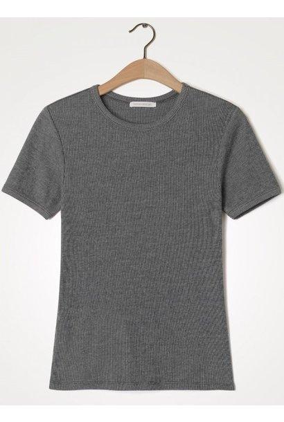 T-shirt korte mouw Valow carbone ecru