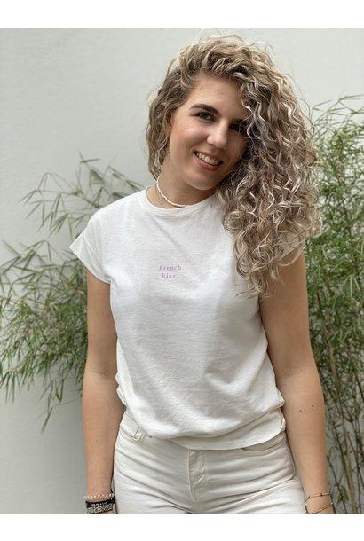 Tshirt french kiss wit lila