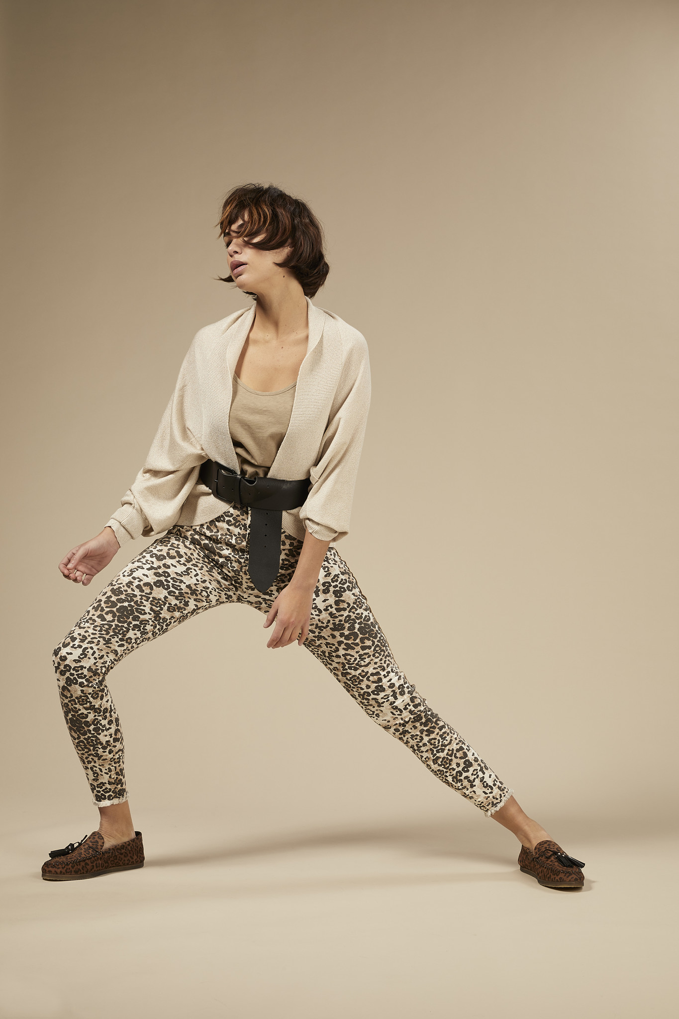 Jeans skinny denim leopard winter white-3