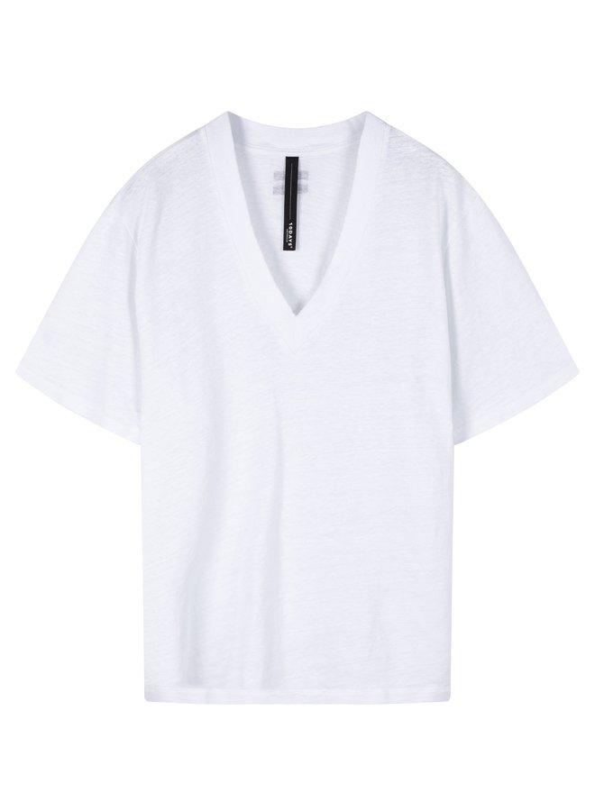 Top v-neck tee linen white