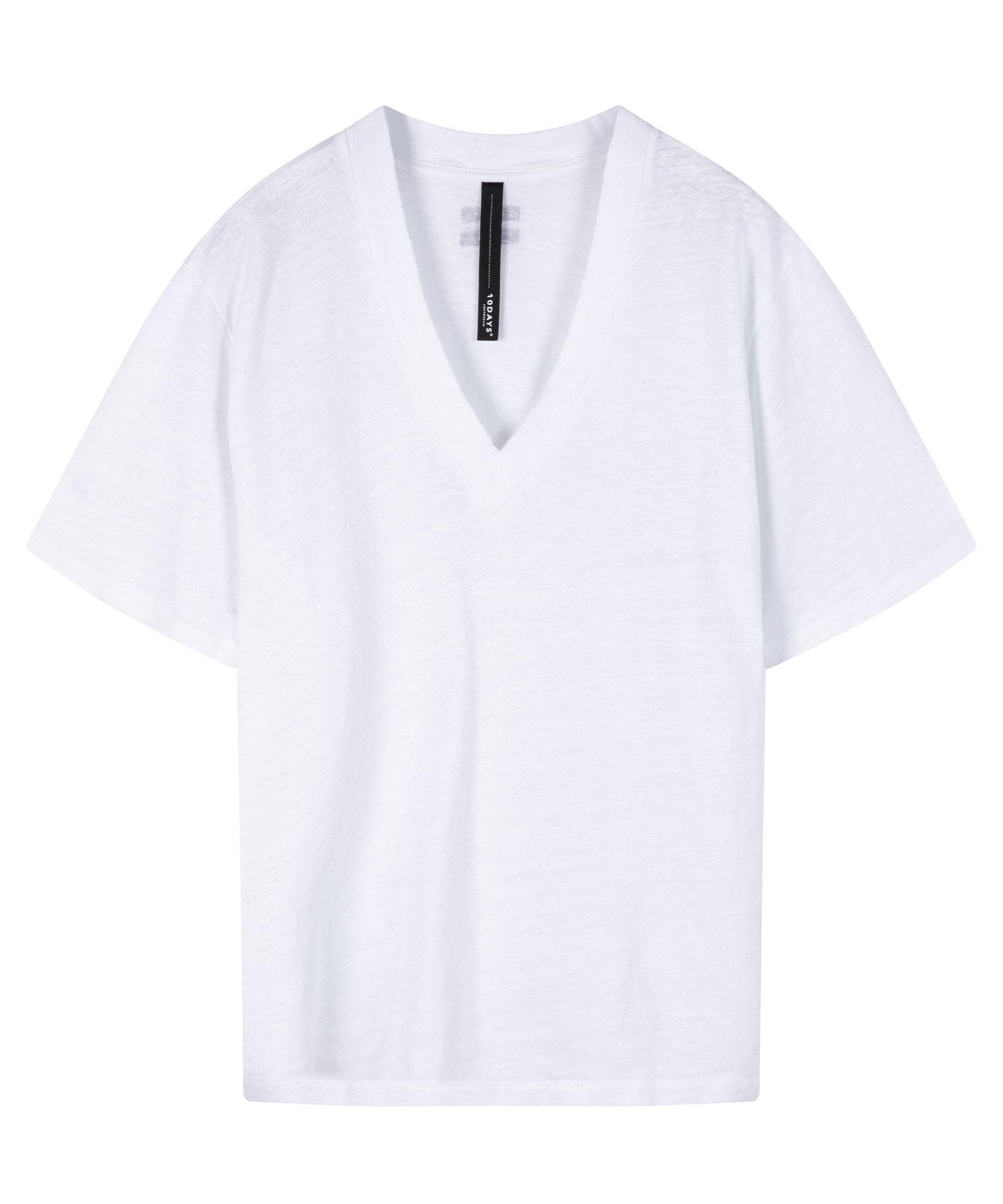 Top v-neck tee linen white-1