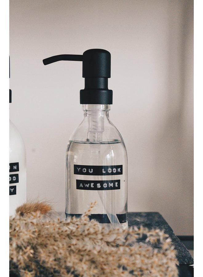 Handzeep helder glas messing pomp 250 ml frisse linnen 'You look awesome'