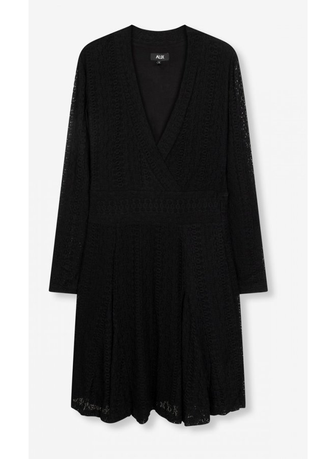 Jurk knitted lace dress black
