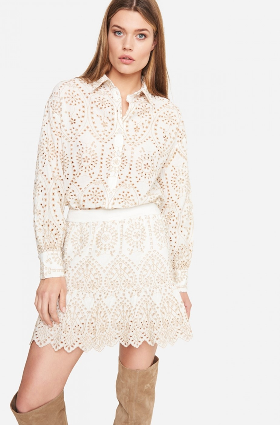 Rok woven broderie skirt soft white-2