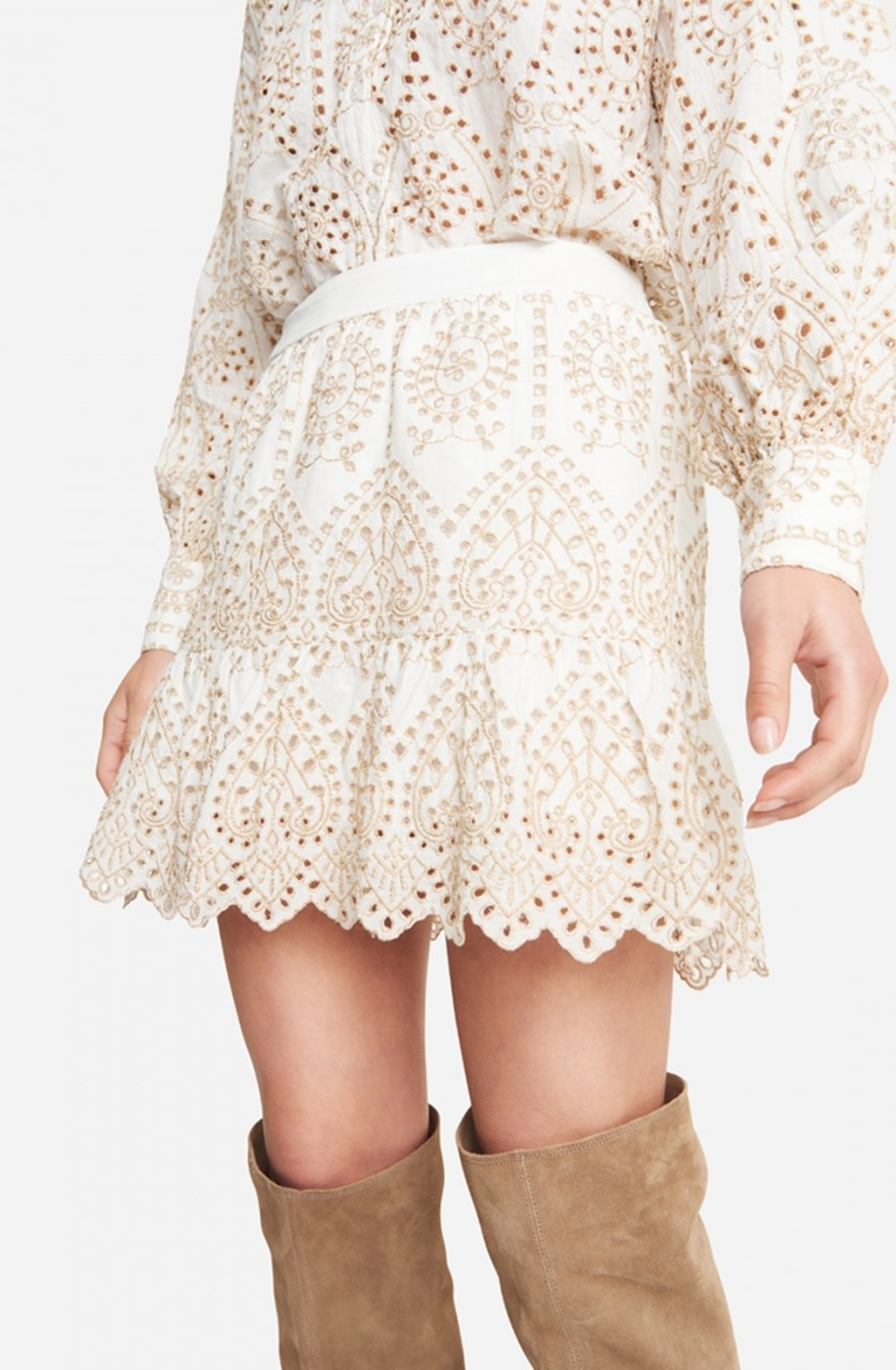 Rok woven broderie skirt soft white-4