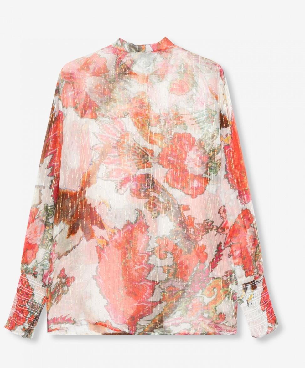 Blouse woven flower lurex blouse soft white-3