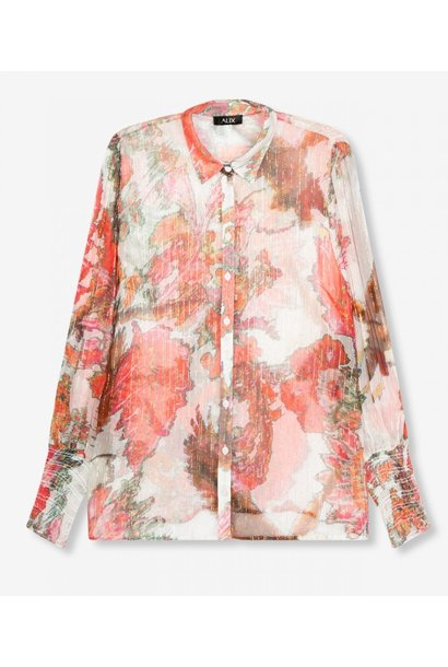 Blouse woven flower lurex blouse soft white