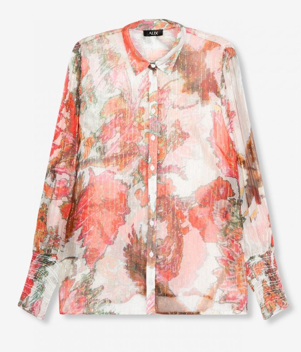 Blouse woven flower lurex blouse soft white-1