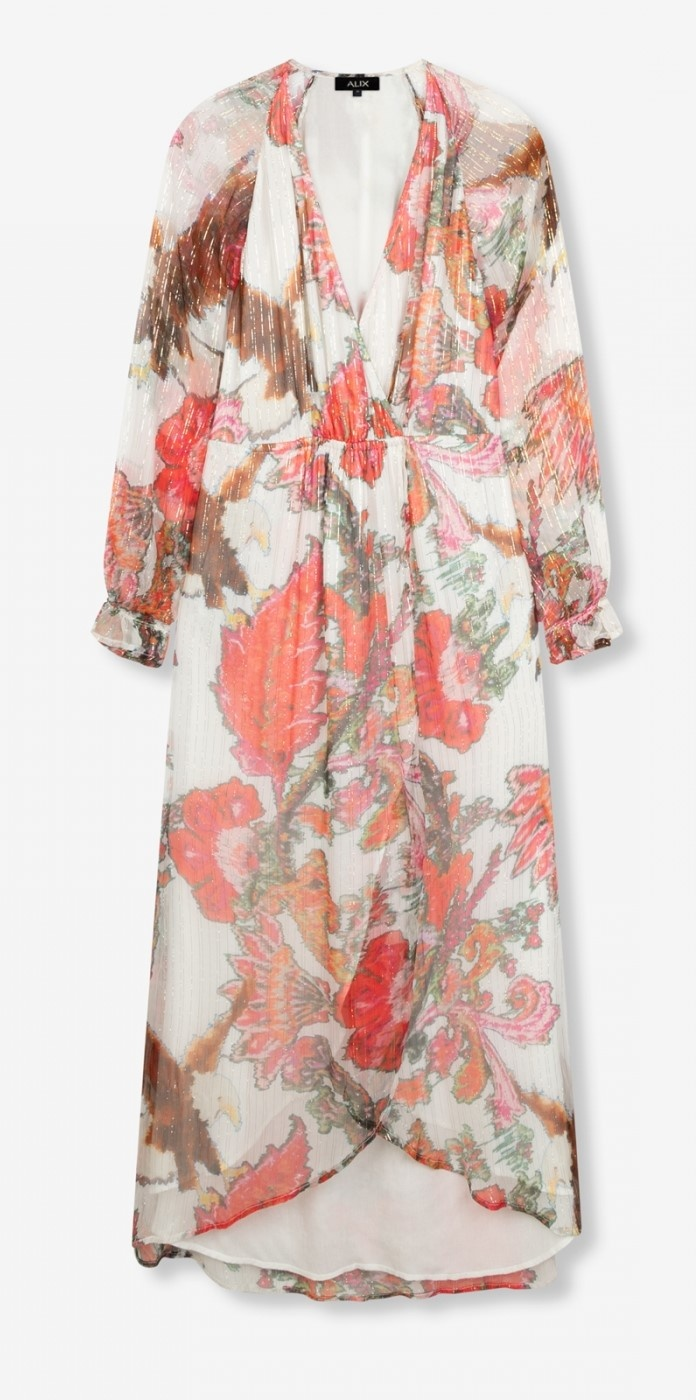 Jurk woven flower lurex long dress soft white-1