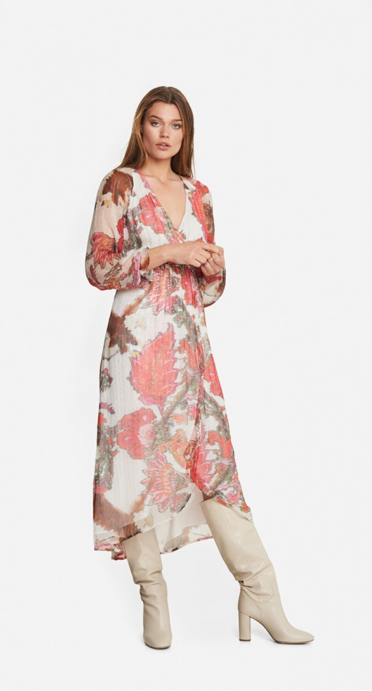 Jurk woven flower lurex long dress soft white-2