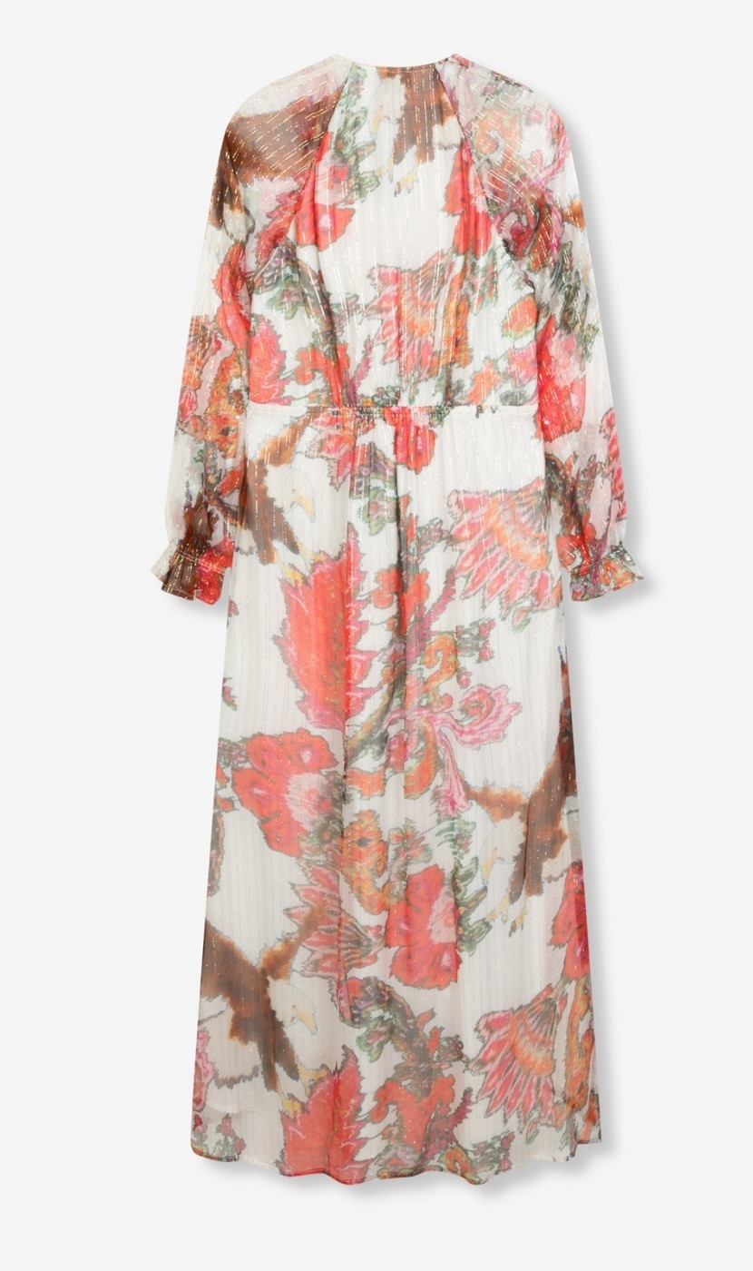 Jurk woven flower lurex long dress soft white-4