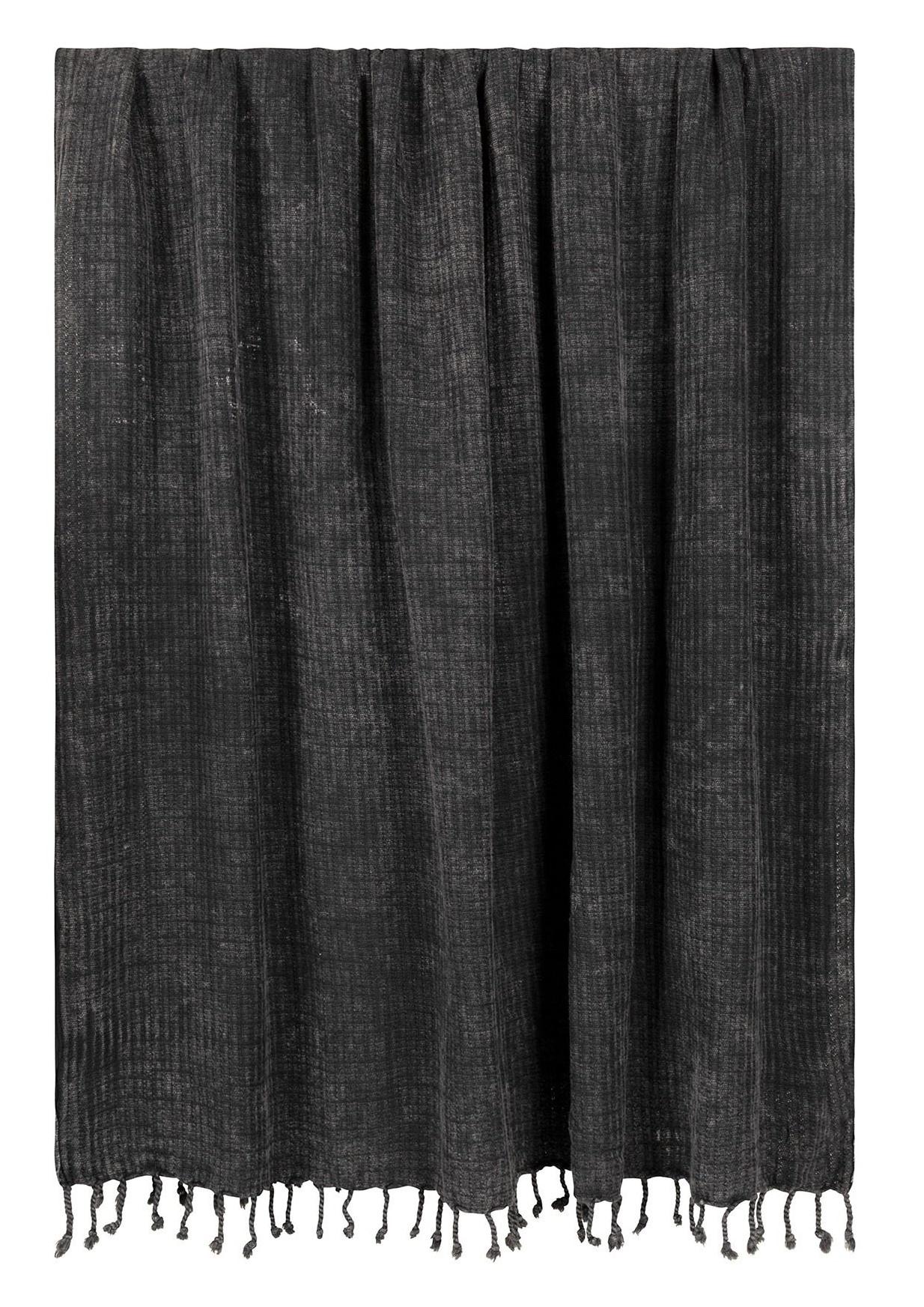Handdoek hamam towel dark grey/blue-1