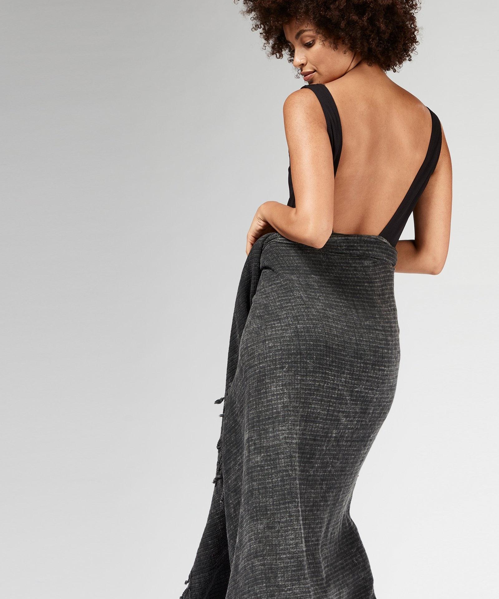 Handdoek hamam towel dark grey/blue-2