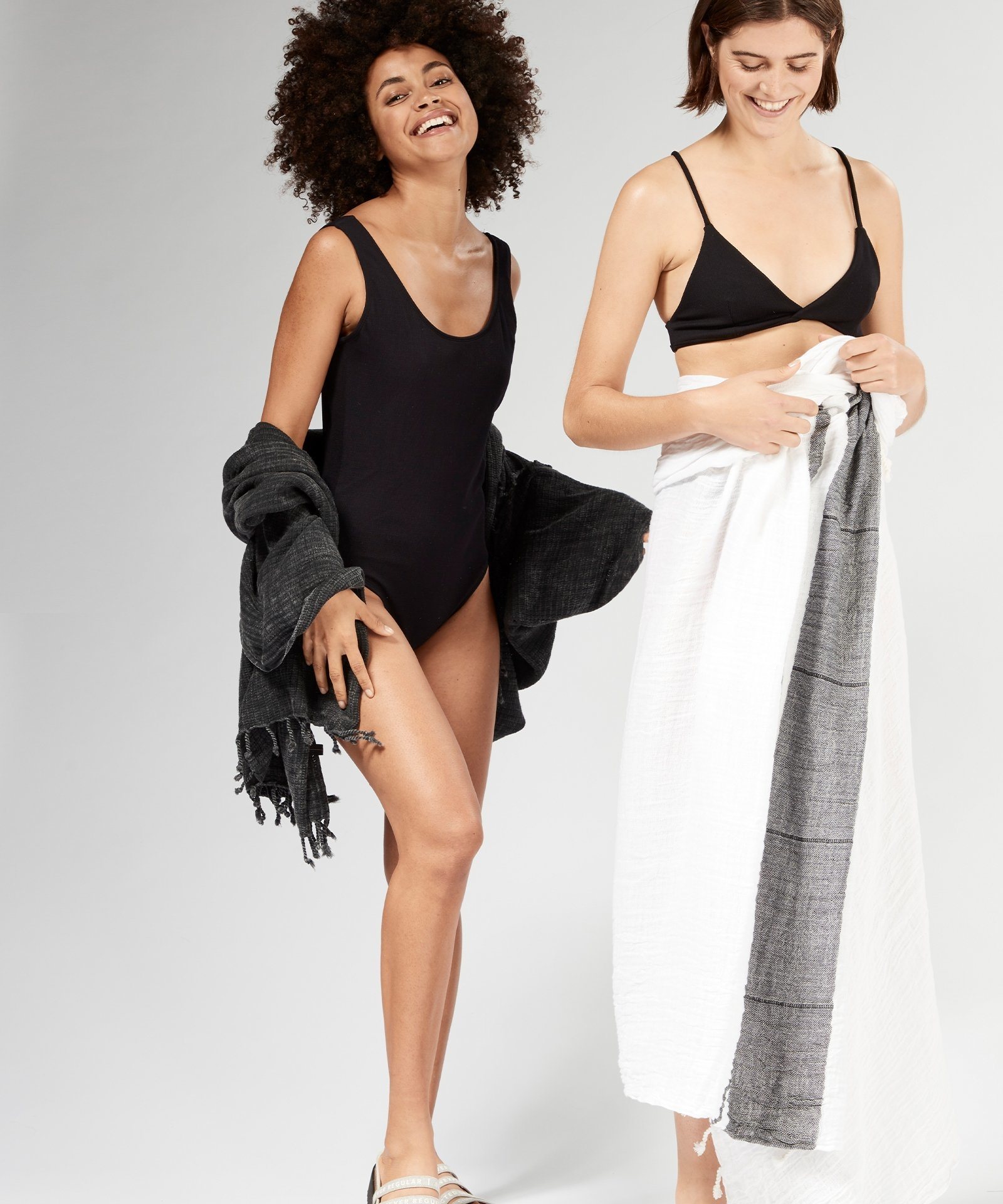 Handdoek hamam towel dark grey/blue-3