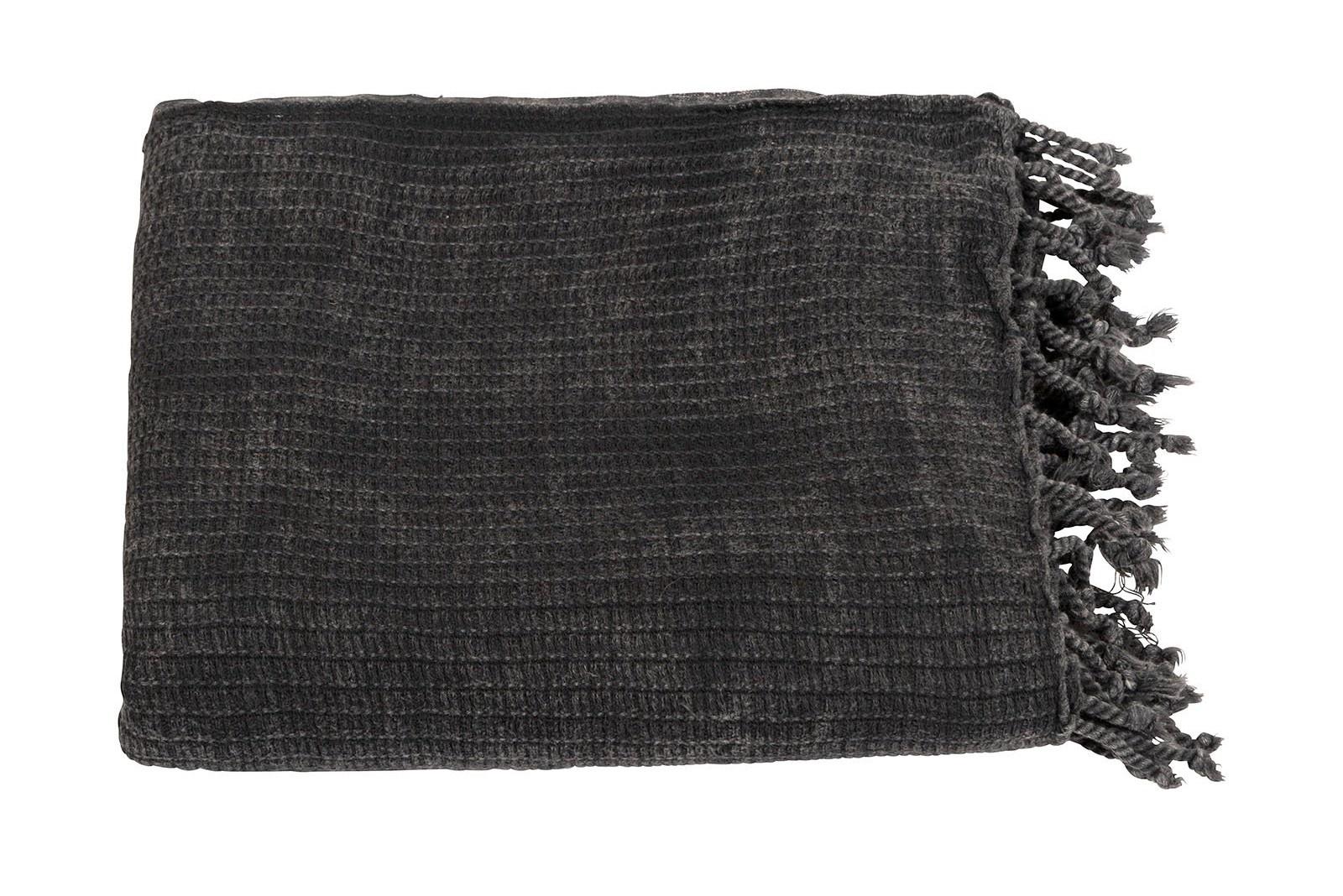 Handdoek hamam towel dark grey/blue-4