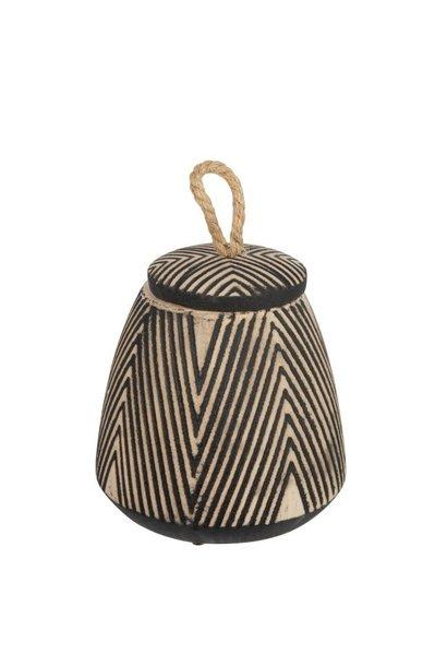Pot met deskel etnisch keramiek bruin 28cm
