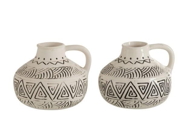 Vaas kruik etnisch keramiek creme 10cm-1