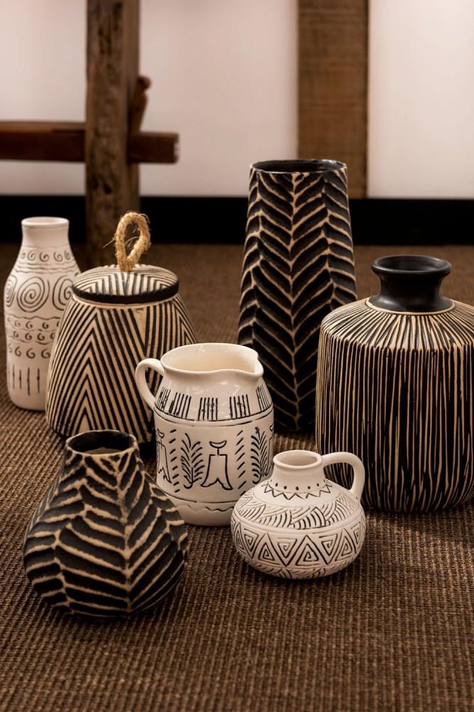 Vaas kruik etnisch keramiek creme 10cm-3