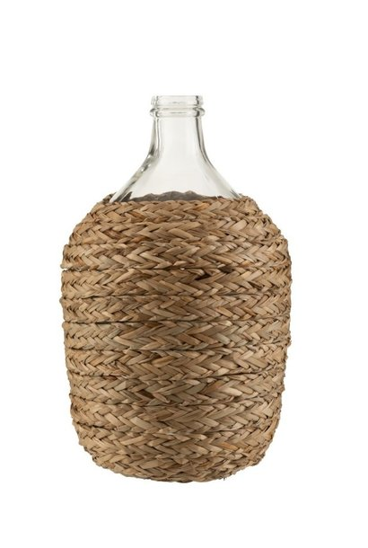 Vaas fles glas bedekt gras 40cm
