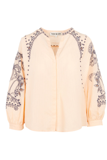 Blouse embroided puffed sleeves