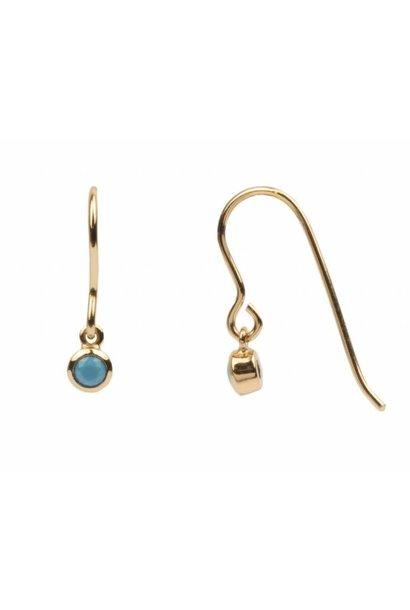 Oorring Bliss PER STUK  Earrings Hook Turquoise  Gold