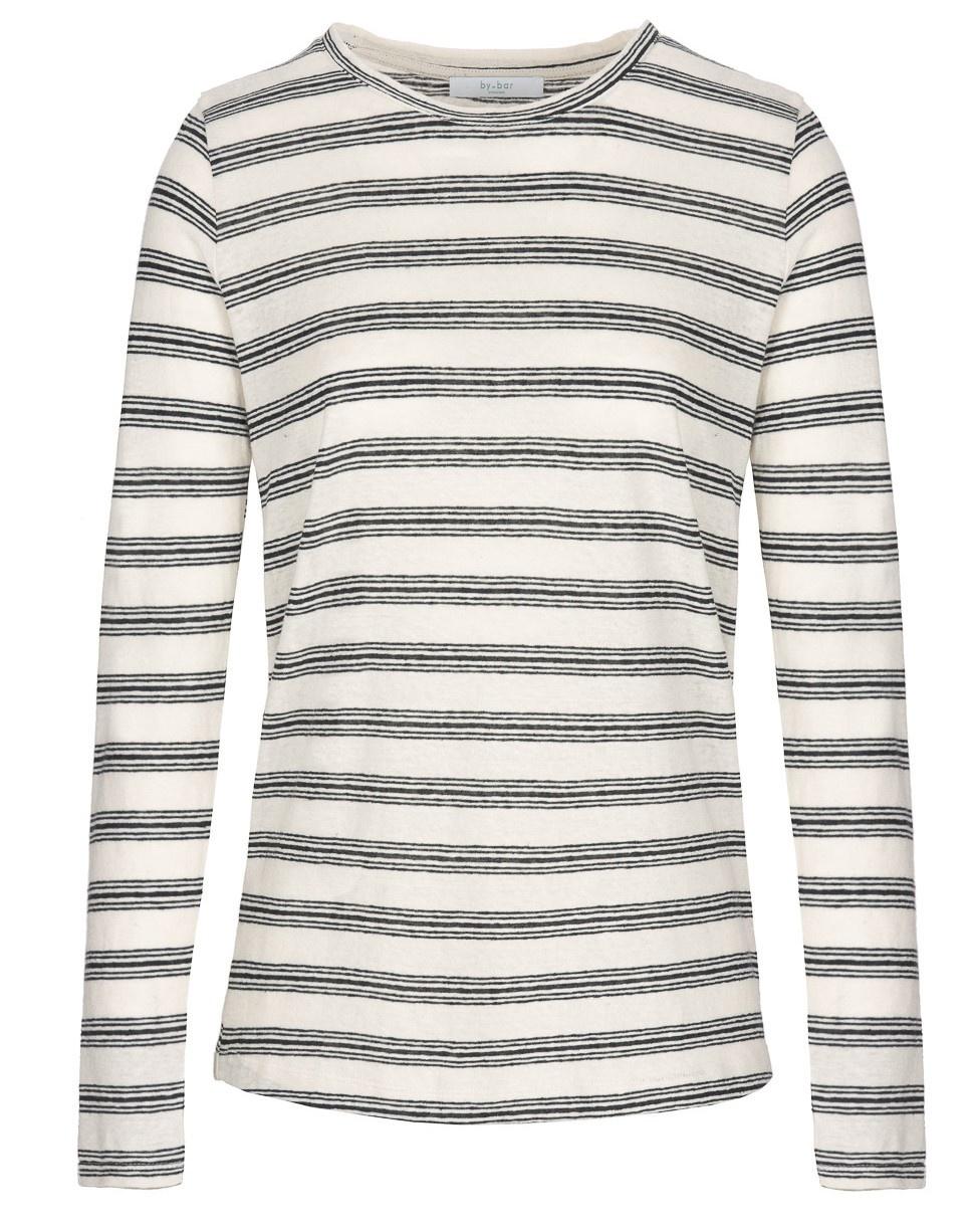 T-shirt lange mouw Maya striped linen-1
