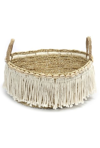 Mand The Boho Fringe Basket Natural White