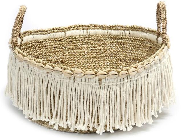 Mand The Boho Fringe Basket Natural White-1
