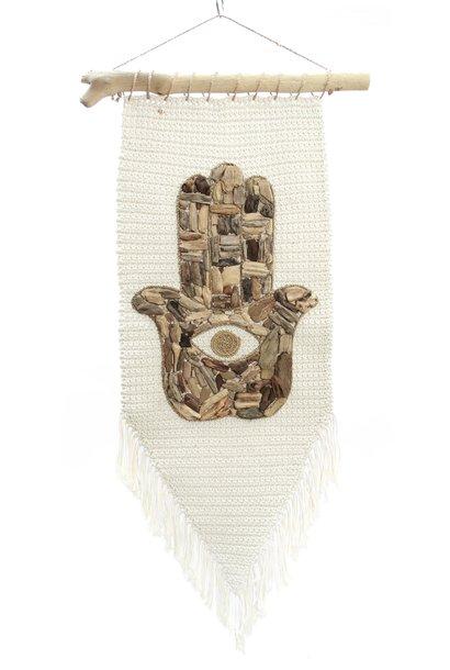 Wanddecoratie The Fatima Hand Macrame Natural